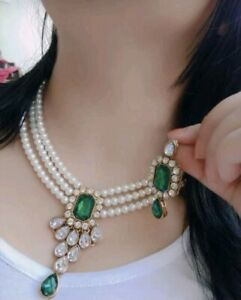 Bollywood Pearl Gold Tone Bridal Indian Fashion Jewelry Necklace Earring Set