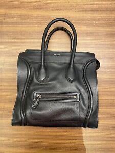 Authentic Celine Mini luggage bag Pebbled Leather Black Authentic Philo