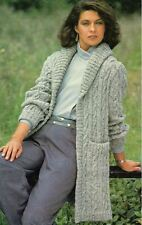 Knitting Pattern LADY'S lunga linea DK Giacca del cavo 76-101 cm (50)