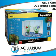 Aqua One Duo Betta Tank - Fighting Fish Hexagonal Aquarium Start Up Kit Unit 2L