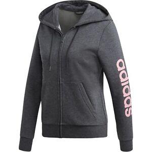 adidas Women's Essentials Linear Hoodie (Dark Grey Heather/Pink, Small DU0649