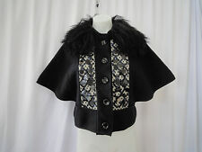 NANETTE LEPORE Sz 2 black wool sheep fur removable collar batwing sleeve jacket