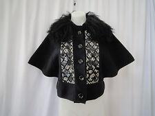 NANETTE LEPORE Sz 2 black wool sheep fur removable collar batwing sleeve jacket