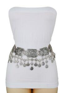 Women Silver Metal Chain Charms Hip Waist Moroccan Style Fashion Wide Belt M L