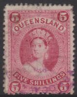 QLD Stamps - Chalon - 1882 - 5 shillings rose - used - SG159