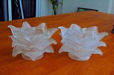 """Art Deco (Pair) Triple Petal Frosted Glass French Style Lamp Shades Fits 2 1/4"""""""