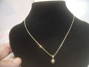 """BEAUTIFUL VINTAGE SOLID 9CT GOLD CURB NECKLACE-18"""" & SOLITAIRE DIAMOND PENDENT"""
