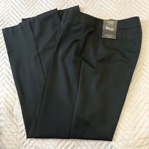 BNWT M&S Collection Size 12 Long Ladies Wool Black The Wide Leg Trousers Smart