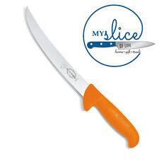 """F Dick 8"""" Curved Trimming Knife - Hi-Vis Orange Handle, Butcher, Chef"""