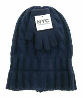 NYC Underground Childrens Unisex Beanie and Gloves Navy Blue One Size