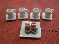 service à thé/café avec gateaux  miniature,maison de poupée,vitrine  C3e-A