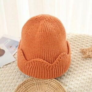 Cute Crown Baby Caps Warm Knitted Winter Hat Solid Colors Infant Beanie Bonnets
