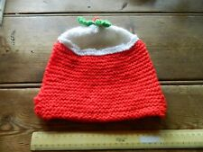 More details for os9 vintage tea cozy crochet / knitted christmas pudding design red white green