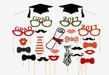 24PCS 2017 Graduation Party Masks Photo Booth Props Mustache On Stick Grad Party