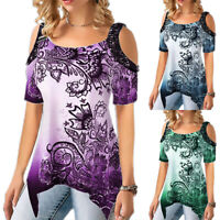 Womens Floral Short Sleeve Asymmetric T Shirt Tunic Top Cold Shoulder Blouse Tee