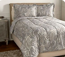 3-piece QUEEN Paisley Comforter Set by Valerie NEW TAUPE