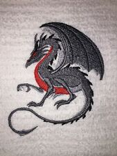 Embroidered Kitchen Bar  Hand Towel- Crouching Gray and Red Dragon BS1022