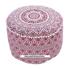 Round Ottoman Pouf Cover Ethnic Indian Pouffe Cover Decor Ombre Mandala Cotton