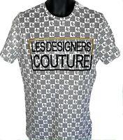 Les designers white Mens t shirt, couture designer urban hip hop bling teeshirt