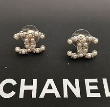 Authentic CHANEL EARRINGS Gold Plated Faux Pearl Stud Earrings