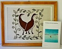 Signed Lydia Jaypoody Inuit print on burlap from Clyde River Nunavut birds 19''