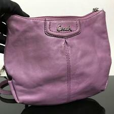 Designer Coach Lavender Purple Leather Crossbody Handbag Purse
