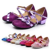 Kids Girls Ballroom Latin Salsa Tango Glitter Dance Shoes Sequins Heeled UK 8-14