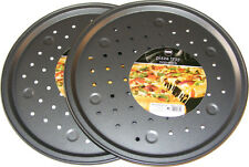 "2 x 33CM 12"" NON STICK SOLID METAL AERATED PIZZA BAKING TRAY OVEN TIN WITH HOLES"