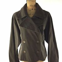 Fossil Large Jacket Dark Brown Vintage Kayla Pine Green Double Button Trendy $98