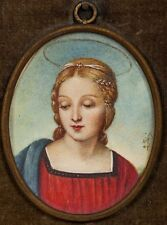 19th C. Miniature Painting on Ivory The Madonna del Cardellino after Raphael
