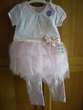 NUTMEG BABY GIRL PINK 3 PIECE LEGGINGS SET WITH TUTU SKIRT AGE 12-18 MONTHS