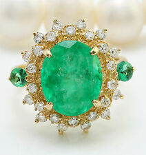 5.31CTW Natural Colombian Emerald and Diamonds in 14K Solid Yellow Gold Ring