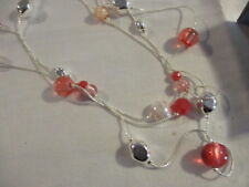 AVON Breast Cancer Crusade Illusions Necklace 3 Silvertone Strands with Beads