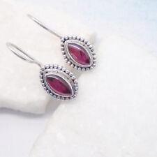 Granat rot red edel Design Ohrringe Haken Ohrhänger 925 Sterling Silber neu