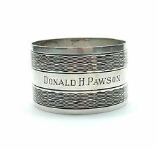 Antique Birmingham 1945 925 Sterling Silver Roberts & Dore Napkin Ring 33.8g