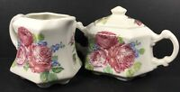 "Crownford Giftware - 4"" tall Creamer and Sugar Bowl - Ivory Pink Mauve Roses"