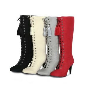 UK 2-11 Womens Ladies Lace Up Strappy Knee High Boots High Heels Zip Suede Boots
