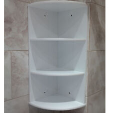 BATHROOM CORNER SHELF SHELVING WHITE WOODEN PANEL DESIGN BEDROOM LOUNGE 3 TIER