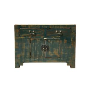 Oriental Distressed Teal Green Blue Credenza Sideboard Table Cabinet cs6147