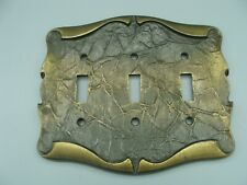Amerock Carriage House 3 Gang Switch Plate Wall Light Cover Triple Vtg Brass