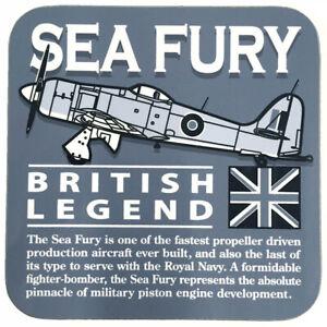 Hawker Sea Fury Royal Navy/RAN/RCN/RNN Fighter Aircraft Grey Coaster.