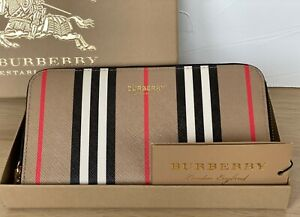 Burberry Wallet Vintage Check E-Canvas Brown Leather Genuine New