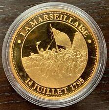 MEDAILLE LA MARSEILLAISE 14 JUILLET 1795 DORÉE À L'OR FIN