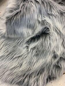 Blanket Faux Fake Fur Solid Mongolian Long Pile Fabric/Black/Gray/White /By Yard