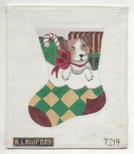 REDUCED! Mini Stocking with Puppy Hand Painted Needlepoint Canvas-Amanda Lawford