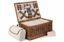 Beautiful 6 Person Classic Wicker Picnic Hamper/Basket Wedding/Gift