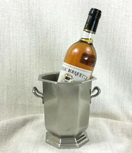 Vintage Ice Bucket Wine Cooler French Brushed Steel Art Deco Style Jean Couzon
