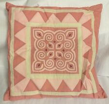 "Vintage Hand Pieced Embroidered Quilt Block Pillow 25"" Shabby Chic"