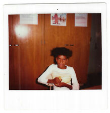 Vintage 80s Kodak Instant PHOTO Little Black Girl Holding Chick In Classroom