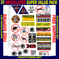 BRICKLAYER, 30 Assorted bricklayer stickers value pack SH-10